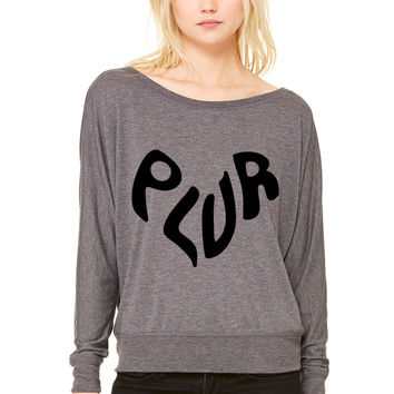 PLUR WOMEN'S FLOWY LONG SLEEVE OFF SHOULDER TEE