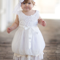 White Vintage Rosette Tulle & Lace Trim Dress