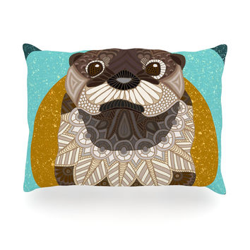 """Art Love Passion """"Otter in Water"""" Blue Brown Oblong Pillow"""