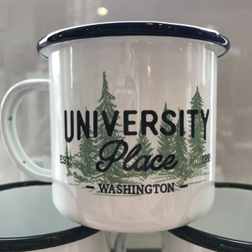 University Place Green Trees Enamel Mug