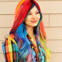 SALE RAINBOW Full Lace Human Hair by UndergroundAquarium on Etsy