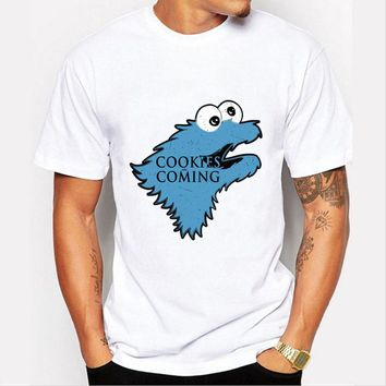 Fashion Cookies is Coming Print T Shirt Men Game of Throne Funny Cookie Monster T-shirt For Male/boy Tshirt Tops O-neck Shirts