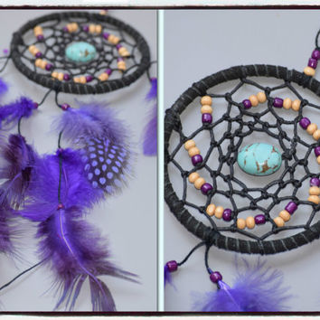 Car Decor, Purple Car Dream Catcher, Mini Dream catcher with Turquoise stone, Native American Dreamcatcher, Pheasant feathers