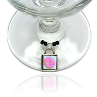 Cute Donut Wine Glass Silver Charm