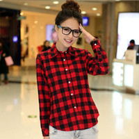 Spring New Casual Button Down Lapel Neck Plaids Checks Flannel Shirts Women Long Sleeve Tops Blouse