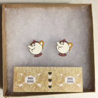 mrs. potts earrings. beauty and the beast. teapot. post earrings. nickel and lead free. chip. mrs. potts earrings.