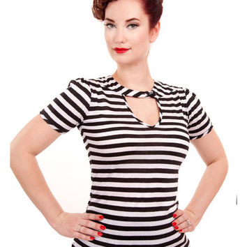 Striped Sneak Preview Keyhole Top