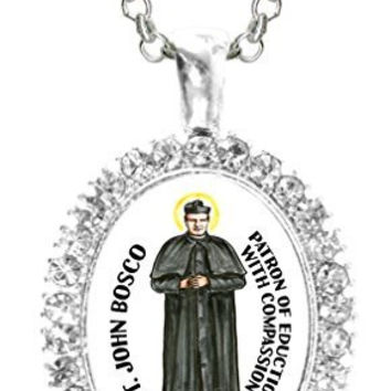 St John Bosco Patron of Education with Compassion Cz Crystal Silver Necklace Pendant