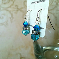 The Jenny- Blue Swarovski Crystal Small Dangle Earrings