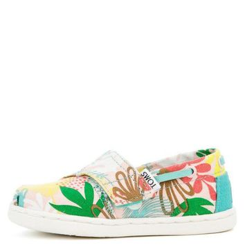 ESBI7E Tiny Toms Biminis Tropical Palms Pink Sneakers