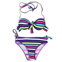 Women's Striped Bikini Set Swimsuits Swimwear Push up Bathing Suits