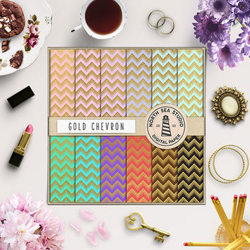 Gold Chevron Digital Paper Gold Foil Chevron Scrapbook Paper Pack Chevron Zigzag Pattern Colorful Backgrounds Gift Wrap 12x12 Commercial Use