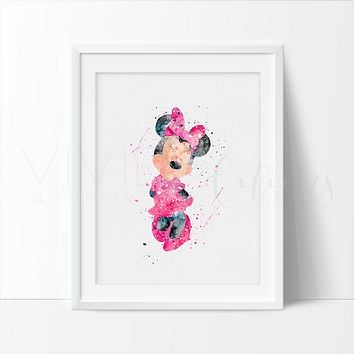 Minnie Mouse Watercolor Art Print - Pink
