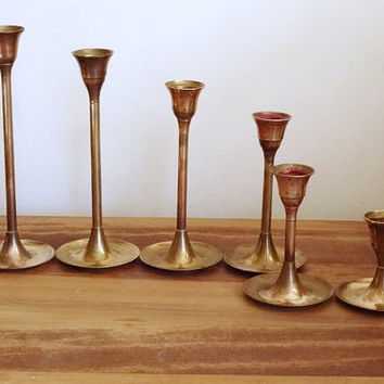 Graduated Brass Candle Holders Candlesticks Matching Set Mid Century Lot of 6