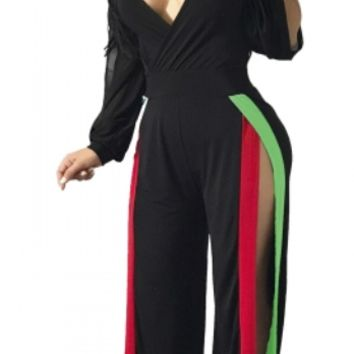 Plus size Block Color V-Neck Sexy Jumpsuit