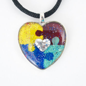 Autism Puzzle Piece Asperger's Heart Necklace