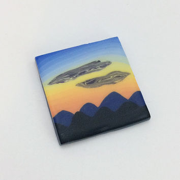 Mountain Sunset Scene Pendant, Polymer Clay Landscape Jewelry Supplies