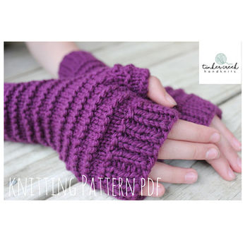 Shop Knitted Fingerless Gloves Pattern On Wanelo