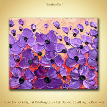 Purple flowers Art Original painting Floral Modern Art Purple flower artwork Acrylic painting Canvas Wall Art 8x10 Home wall decor Landscape