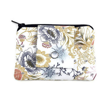 White Coin Purse & Card Holder with Blue Flowers, Navy Beige and White Stylish Pocket Wallet, Card Case, Zippered Pouch, Free Shipping