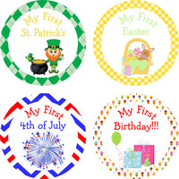 Baby Milestone Holiday Stickers- My First Halloween, Thanksgiving, Christmas, New Years 302