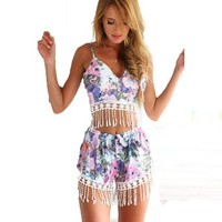 Women's Bohemian Tassel Floral Print 2 Pieces Top+Short Pants Jumpsuits Rompers