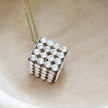 Diamond Cube Necklace - Rhinestone and Brass