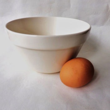 Vintage British Ironstone Pudding Bowl / Mason Cash Kitchen Basin / Cooking Prep Bowl / White Ironstone Mixing Bowl / Cook Chefs Gift