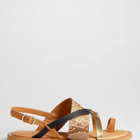 Rianna metallic and snake skin strap sandal | maurices