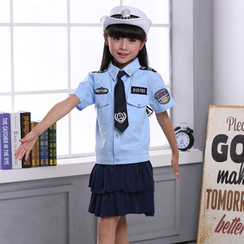 Kids Girls Police Women Uniform Cosplay Costumes Clothing Set 4PCs Dresses for Teenager Girls Halloween Cop Children Clothes