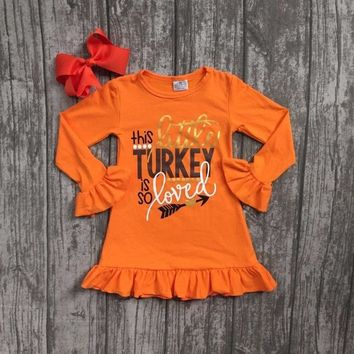 Thanksgiving Boutique Orange Dress with Matching Bow