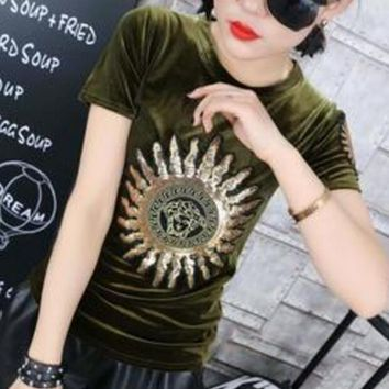 Versace Trending Women Casual Tiger Head Letters Print Short Sleeve Velours T-shirt Top Green