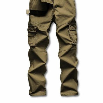 Man Multi-pocket Long Military Pants Male Work Cargo Overalls Loose Camouflage Pants Leisure Straight Trousers