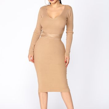 Beyond Belted Dress - Taupe