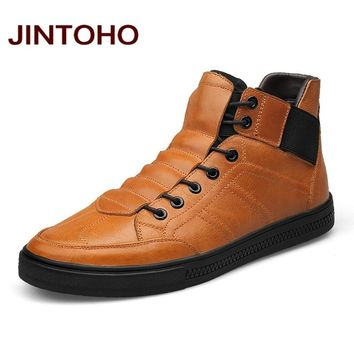 JINTOHO High Quality 100% Genuine Leather Men Ankle Boots Italian Real Leather Men Boots Men Winter Shoes With Fur Ankle Booties
