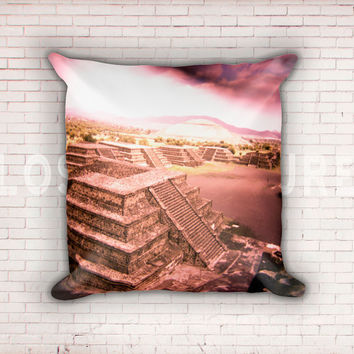 Apocalypse Pillow, Pyramids Throw Pillow, Modern Home Decor, Teotihuacan Mexico, Aztec, Mayan, Art Pillow Case, 18x18 Inch Pillow, Holga Art