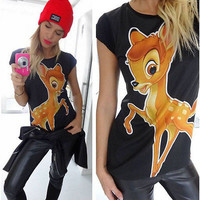 Europe and United State Women Loose Short Sleeve Deer Bambi Printing t Shirt Tops Casual Cute Round Collar Summer T-shirt