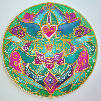 mandala art, Compasionate Heart, yoga art, spiritual art, heart chakra, meditation art, new age, metaphysical, pagan, goddess,wiccan