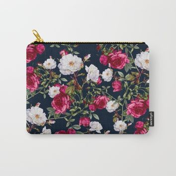 Vintage Roses on Darkblue Carry-All Pouch by VS Fashion Studio