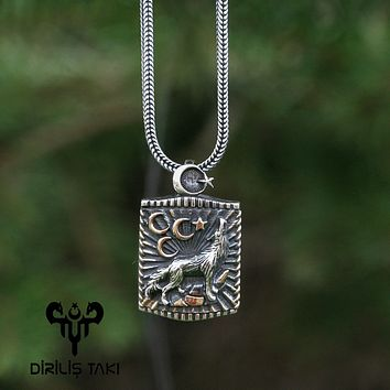 Wolf 3 crescent star silver pendant