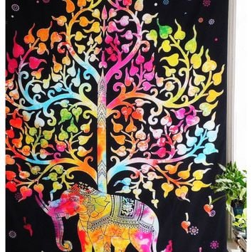 Colorful Elephant Tree of Life Tapestry  51x60in