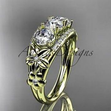 14kt yellow gold diamond 3 stone  Forever One  Moissanite wedding ring ADLR203