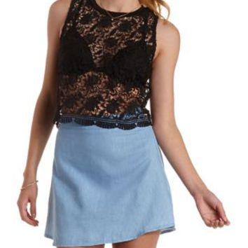 Black Crochet Floral Tank by Charlotte Russe