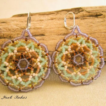 Beaded Earrings - mint lavender amber - Sap Moon mandala art - spring - huichol jewelry - disc - round - circle - hand made in USA