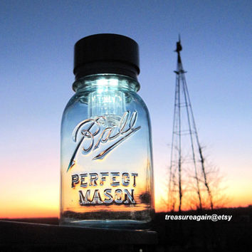 Original Mason Jar Solar Light Blue Antique Ball Mason Jar Lantern, Outdoor, Garden, Wedding, Decoration, Porch, Upcycled Handmade Solar Jar