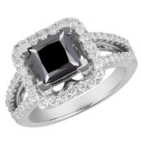 2 5/8 CTW Princess Cut Black and White Diamond Vintage Engagement Ring in 14K White Gold