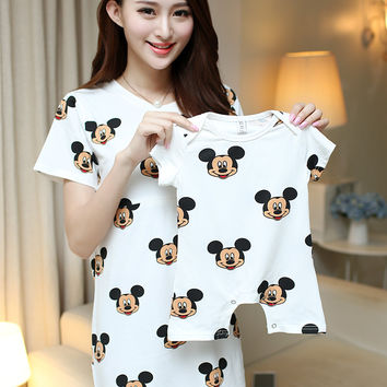 Summer Cotton Cartoon Mother And Baby Family Matching Outfits Mom Mickey Donald Breast-feeding Dress Shirt+Baby Romper Jumpsuit