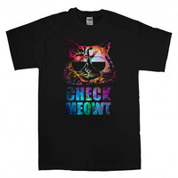 Check Meowt Cat Sunglasses nebula  For T-Shirt Unisex Adults size S-2XL