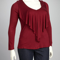 Burgundy Ruffle Plus-Size V-Neck Top