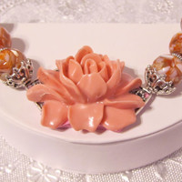 Large Statement Flower Bracelet in Light Red, Cuff, MOP, Mother of Pearl